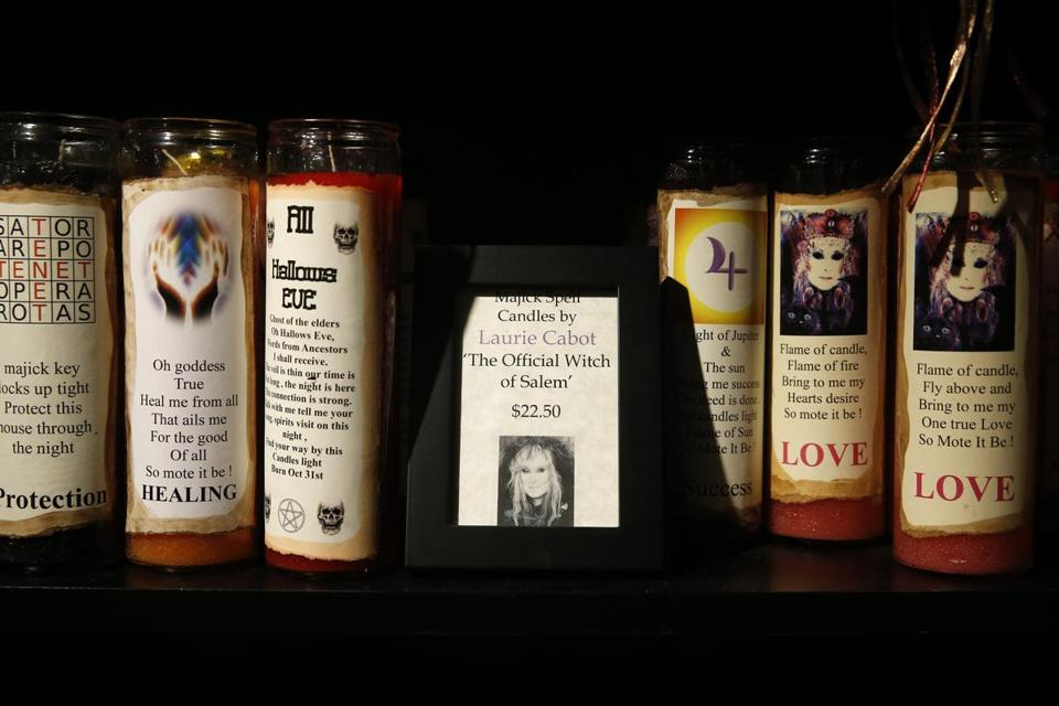 Majick Spell Candles made by Laurie Cabot are for sale in Enchanted, an authentic witch shop.